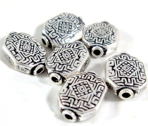 Qty 6: Antiqued Sterling Silver Beads, 12x9mm