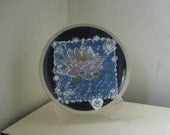 "REDUCED PRICE Plate, 8"" round, Home decor, Lotus flower, OOAK wedding gift, Graduation Day gift"