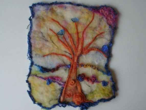 Fall Felted Wool Picture Family Tree Treasury Item Painting Autumn Fiber Art Wall Hanging
