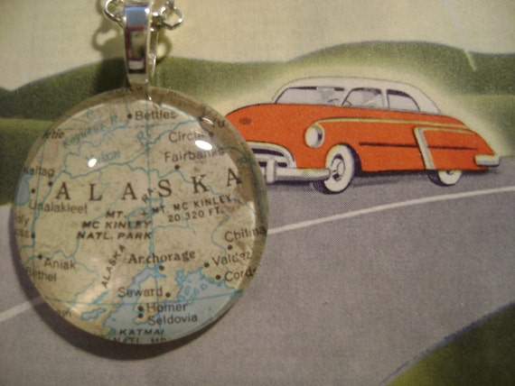 Alaska - 1968. Beautiful glass pendant hand-crafted from a vintage 1968 atlas.