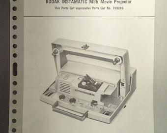 Kodak Instamatic Movie Projector Parts Manual Brochure 1960 M95
