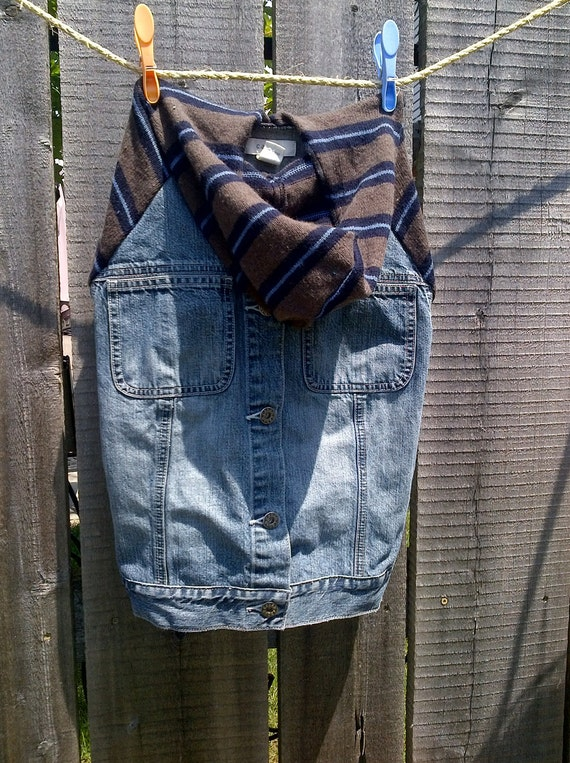 Denim UpCycled Dog Coat with Sweater Sleeves (L)