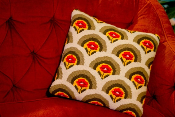 1970s Vintage Orange & Avocado Throw Pillow