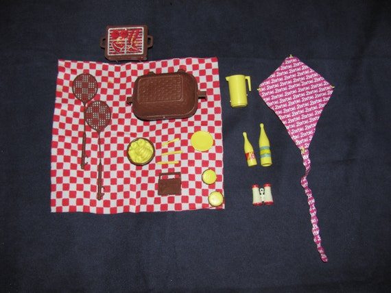 Vintage 1980's Mattel Barbie Doll Accessories - Barbie Picnic Set with Basket, Kite, Barbecue