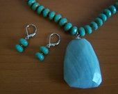 Jewelry sets.Turquoise Amazonite donut shape necklace and earring