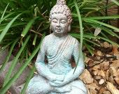 Sitting Buddha Figure - Patinaed Copper & Gold