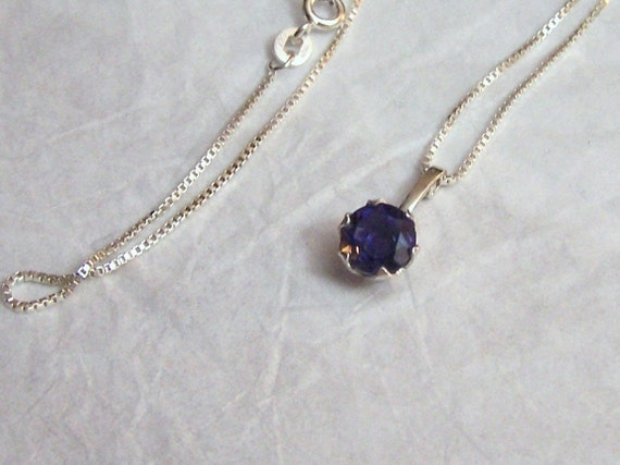 Gemstone Artisan Pendant Fine Vintage Jewelry Altered Blue Iolite Necklace Tasrete