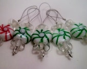 SALE Peppermint Stitch Markers Red and Green set of five snag free knitting stitch markers