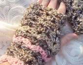 Fingerless gloves, Wrist  Warmers, hand crocheted in Brown and Rose ready to ship