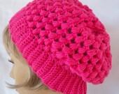 Crochet Slouchy Hat Hot Pink handmade beanie beret cap