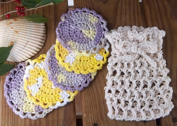 Set of 5 crochet Face Scrubbies purple and yellow cotton face cloths with crocheted bag