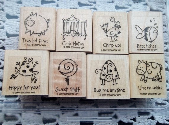 Stampin Up stamp set - Very Punny - wood and rubber stamps