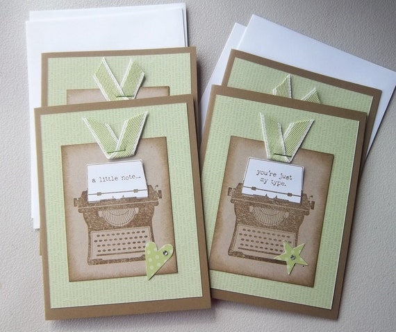 Stampin Up card set of four vintage style typewriter all occasion