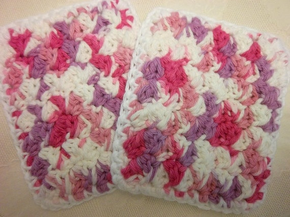 Fresh Berries crocheted Kitchen Sponge set of two cotton purple and pink scrubbies dishcloth