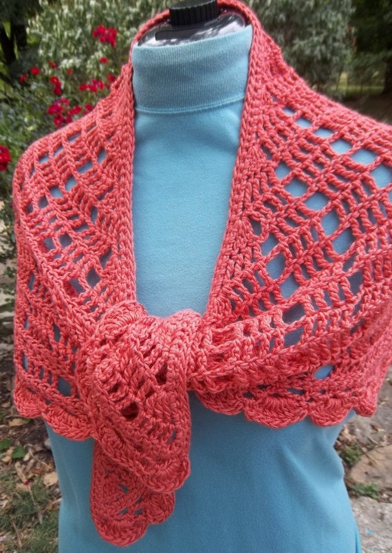 Coral Crochet Shawl Scarf lace wrap handmade
