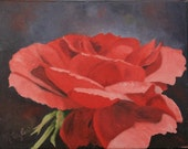 Red Rose original oil painting 11 X 14 palette knife painting no frame necessary