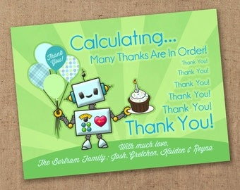 Little Robot thank you card. Printable postcard