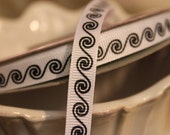 Black and White Spiral Ribbon 5/8 inch wide