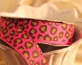 Fuchsia and Black Leopard print ribbon 1 inch wide