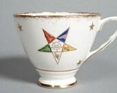 Vintage Ceramic Masonic Rainbow Pentagram Tea Cup