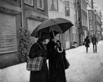 Large Black and White Wall Art-Vintage Inspired Photo-Retro Umbrella Ladies in Amsterdam Winter Snow-Vintage Style Photography-16x20