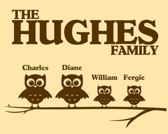 FAMILY OF OWLS with names of your family Vinyl Wall Decal Art Custom Personalized