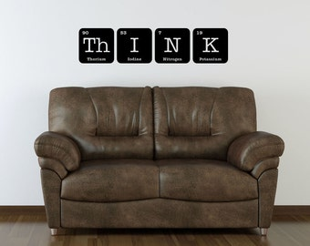 THINK Wall Decal Vinyl Periodic Table Funny Elements Chemistry