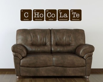 CHOCOLATE Sign Wall Art Vinyl Decal Periodic Table Funny Elements Chemistry