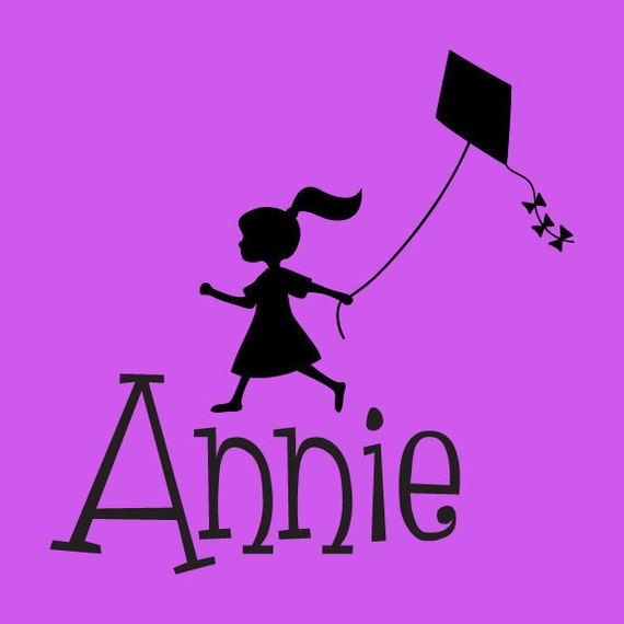 Custom Name with Girl with Kite - Children's Room Wall Art Vinyl Personalized Girl Baby Toddler Decal