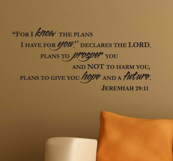 Jeremiah 29 11 Wall Art wall decal jeremiah 29:11 for i know the plans i have