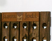 Wine Riddling Rack with Personalized Custom Carved Plaque