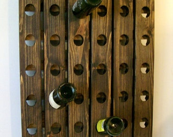Wood Wine Rack Riddling Antique Style Walnut Finish Hanging Winerack