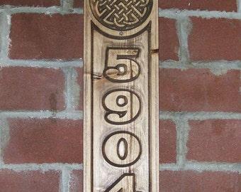 Address Sign Celtic Knot Carved Plaque