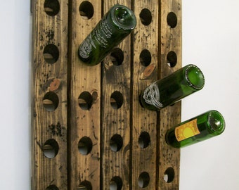 Wine Riddling Rack Distressed Wood Gift for Dad