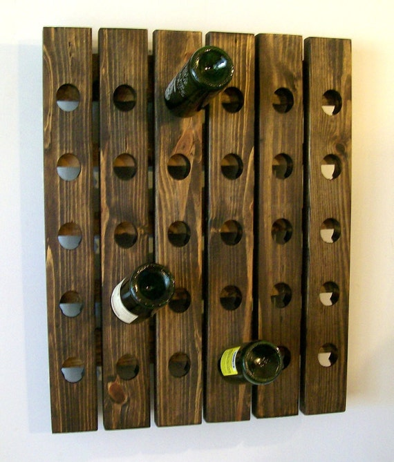 Riddling Rack French Style Wine Rack Dark Walnut Finish Holds 30 Bottles