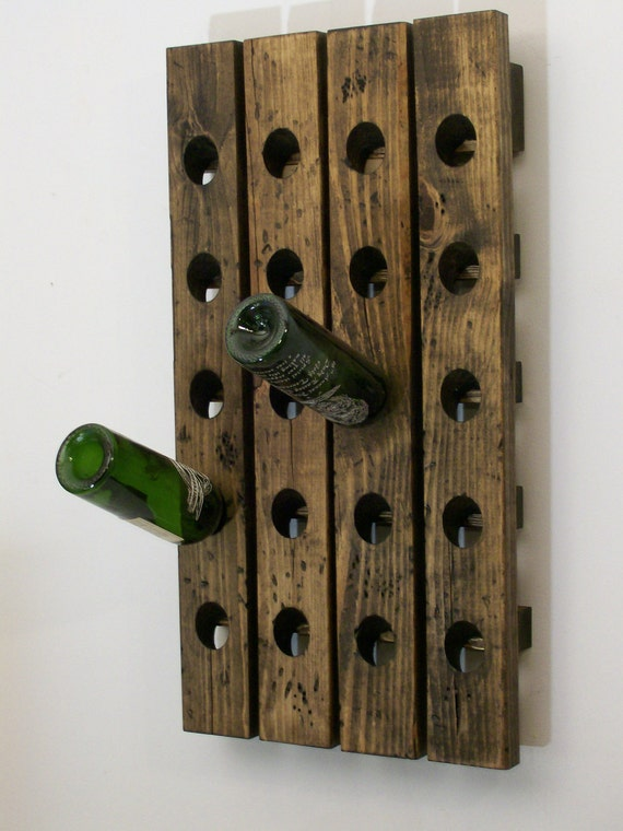 Wine Rack Distressed Wood Country Style Wine Bottle Display