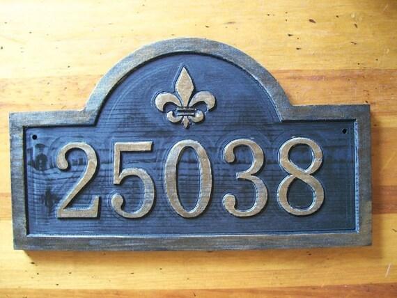 Custom Address Sign Fleur De Lis Antique Brass Finished Wood
