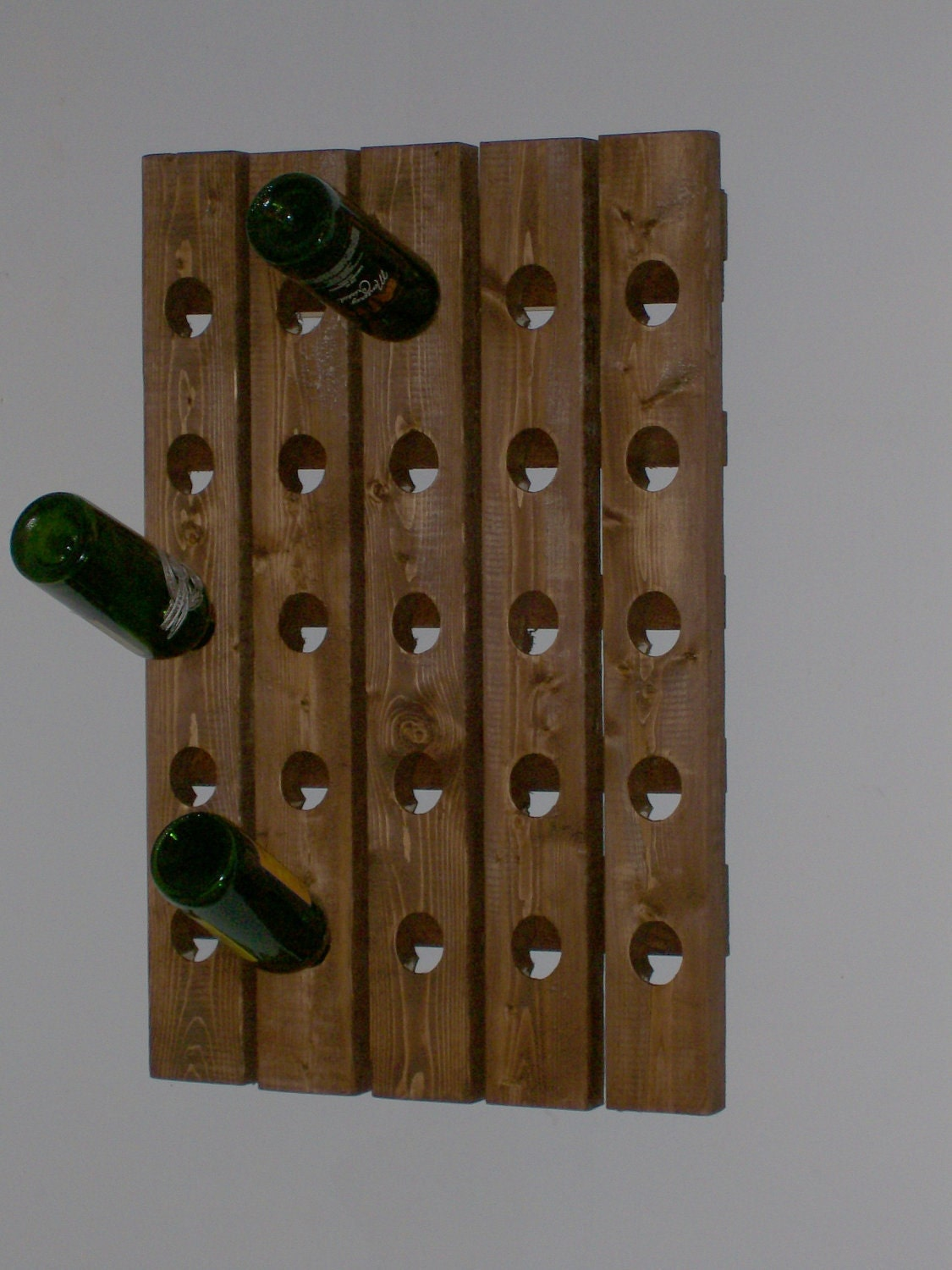 Riddling wine rack handcrafted wood wall hanging Hanging wooden wine rack