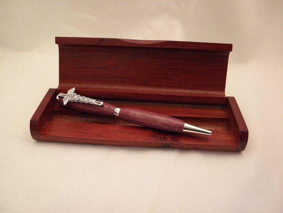 Purple Heart Wood Pen with Silver Caduceus Clip