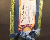 Picture frame free standing yellow sparkle ribbon and blue accents and green stone flower pattern felt backing fits wallet size photos