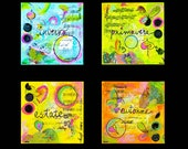 Bright Colorful Whimsical Mixed Media Set of Four Pastel Colors The Four Seasons Enhanced Matte Giclee Art Print 11 x 14