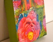 Bright Colorful Whimsical Pink Rose Green Floral Abstract Mixed Media Painting Collage 6 x 6