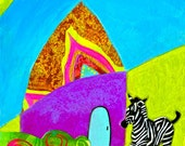 Bright Colorful Whimsical Nursery Child's Room Zebra in Flower Field Glowing House Fine Art Velvet Giclee Print 5 x 7