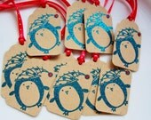 Holiday Gift Tags Sparkly Penguin Set of 10