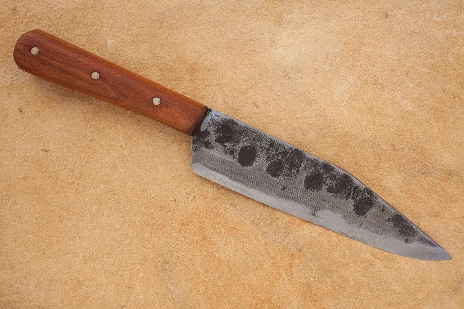 hand forged kitchen knife with cherry handle by shiraforge on etsy. Black Bedroom Furniture Sets. Home Design Ideas
