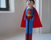 Superman Clothespin Doll Christmas Ornament