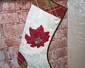 Christmas Stocking Poinsettia Christmas Stocking Ivory Brocade Vintage Poinsettia Stocking