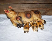Chalkware Pig Chalk Ware Sow With Piglets Chalkware Piggy Bank Spotted Pig