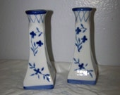 Blue Floral Candle Holders Ceramic Blue Delft Candle Holders