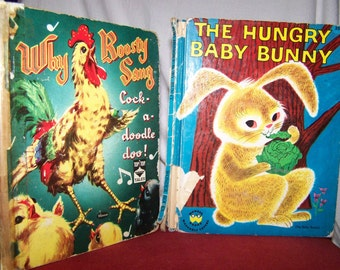 Vintage Top Top Tales Roosty Book and Wonder Book Hungry Baby Bunny